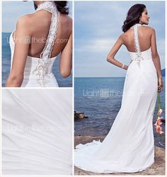 LightInTheBox Dress: Sheath/Column Halter Court Train Chiffon Wedding Dress -  For more amazing Finds visit us at http://www.brides-book.com/#!brides-book-outlets/ck9l and remember to join the VIB Club  for amazing offers from all our local vendors.