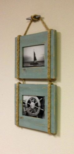 HOME DECOR – COASTAL STYLE – shabby chic nautical beach cottage rope boat cleat picture frame in distressed watery finish.
