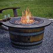Reclaimed Wine Barrel Fire Pit with Slate Top (www.wineenthusias) - Fire Pit - Ideas of Fire Pit Wine Barrel Fire Pit, Wine Barrel Rings, Wine Barrels, Wine Barrel Furniture, Fire Pit Furniture, Modern Furniture, Garden Furniture, Furniture Decor, Fire Pit Table Top