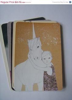 SPRING SALE Girl and Unicorn Postcard by IrenaSophia on Etsy, $2.20