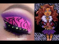 Monster High's Clawdeen Wolf Makeup :D Monster High Birthday, Monster High Party, Amazing Halloween Makeup, Halloween Make Up, Movie Makeup, Makeup Art, Monster High Makeup, Wolf Makeup, Brown Eyes Pop