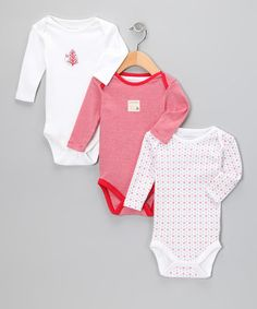 So cute! Burt's Bees Baby Red & White Organic Bodysuit Set by Baby's First Christmas Collection on #zulily today!