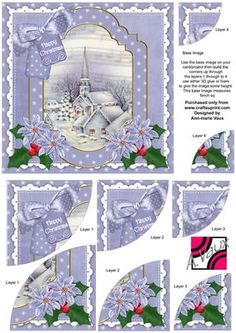 Blue Church Christmas 6in Duo Corner Stacker Card Front on Craftsuprint - Add To Basket!