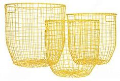 Yellow Round Wire Basket Large