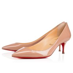 """A variation on a beloved theme, """"Pigalle Follies"""" is our number-one icon, """"Pigalle"""", refitted with a slightly shorter toe box and a superfine stiletto heel. Go for glamor this season with this ultra-chic 55mm version in nude patent leather."""
