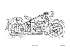 #BMW R51 1938 Original Handmade #Drawing Print 115x16 by drawspots, $42.00