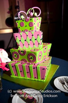 Crazy green and pink fondant cake