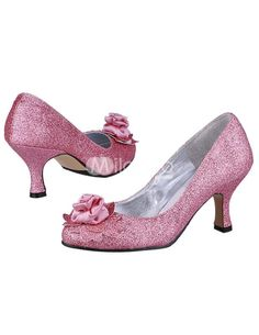 Pretty Pink Satin Flower Decoration Low Heel Wedding Shoes. See More Bridal Shoes at http://www.ourgreatshop.com/Bridal-Shoes-C919.aspx