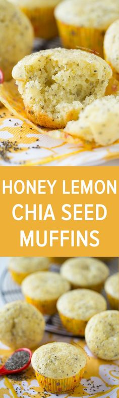 Honey lemon chia seed muffins are the perfect muffins to bring Spring year-round into your kitchen! Recipe on tablefortwoblog.com: