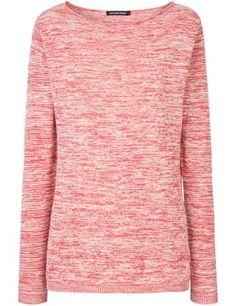 #Pull à col bateau en lin et coton #rose garance