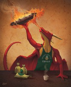 Dragon Roasted Coffee-Speed Paint by GoldenDruid Arte Furry, Furry Art, Magical Creatures, Fantasy Creatures, Anime Neko, Anthro Dragon, Myths & Monsters, Dungeons And Dragons Homebrew, Dragon Pictures