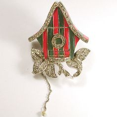 MB Boucher Metallic Enamel, Rhinestone, and Pearl Mechanical Trembler Cuckoo Clock Pin Clip