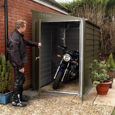 A strong secure storage solution for your motorcycle. Approved by the Loss Preve… A strong secure storage solution for your motorcycle. Approved by the Loss Prevention Certification Board to Security Rating 1 and Triumph Street Triple, Garage Storage Cabinets, Garage Organization, Wolverhampton, Motorbike Storage, Motorbike Shed, 1200 Gs Adventure, Motos Harley, Deco Studio