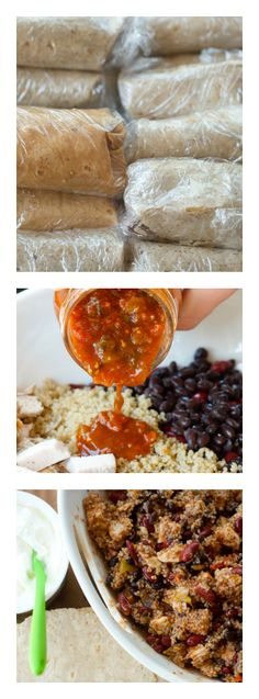 This easy FREEZER Burrito Recipe with Chicken and Quinoa is the perfect lunch, dinner, or snack to pull out of freezer, heat up, SERVE | ReluctantEntertainer.com