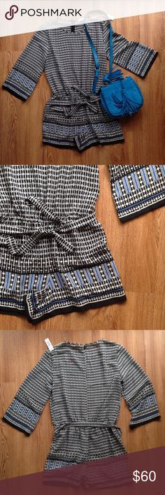 FLASH SALE!🌷 NWT Max Studio romper smart breezy S NWT Max Studio romper. Classic soft Max Studio jersey with smart print. Whit on black with blue accent color. Drop elastic waist with matching tie belt. 3/4 sleeve. Size S Max Studio Other
