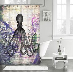 "Best Retro Vintage Octopus Custom Shower Curtain 60"" x 72"" #Unbranded #Modern #Best #Design #Cheap #Gift #Beautiful #Showercurtain #Beautifulshowercurtain #octopus"