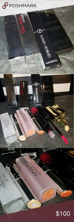 High-end cosmetic bundle Dior Fix-It two-in-one Prime and conceal 002 Dior addict lip glow color Awakening lip balm 004 Giorgio Armani ecstasy lacquer 505 Guerlain kiss kiss lip lift  All full sizes, authentic and never used Dior Makeup Lipstick