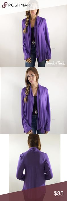 Purple Cardigan Sweater Back to basic purple open cardigan sweater. Light weight rayon/spandex poly blend. Size M/L, L/XL Threads & Trends Sweaters Cardigans