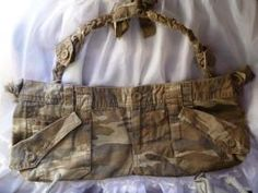 Camo Stuff, Bag Patterns, Upcycled Clothing, Recycled Crafts, Craft Items, Baby Bibs, Handbag Accessories, Repurposed, Crocheting