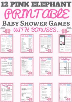 pink elephant baby shower theme | pink elephant nursery | pink elephant baby shower cake | pink elephant | pink elephant baby shower decorations  The best pink elephant baby shower printable theme is back with new games and even more bonuses.   This is the perfect printable package if you want to celebrate a girl themed baby shower.