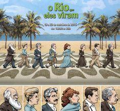 O ilustrador carioca Fernando ROMEIRO, retratou nessas caricaturas oito personagens históricos que passaram pelo Rio de Janeiro em algum momento de suas vidas. Da esquerda pra direita na imagem maior: Charles Darwin, Elizabeth Bishop, Oswaldo Cruz, Jean-Baptiste Debret, Sarah Bernhardt, Marie Curie, Orson Welles e Albert Einstein.
