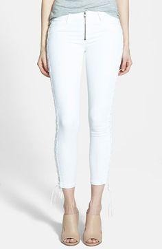Women's Hudson Jeans Lace Up Crop Jeans (White)