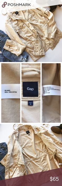 - GAP - Anorak Tan Army Jacket A rugged 100% cotton anorak features a crisp stand collar and roomy, safari-inspired patch pockets that button shut for safekeeping. 4 front pockets, drawstring waist, shoulder button tabs and cuff buttons.  Perfect for crisp fall walks and layering all winter long! Excellent pre-loved condition, no flaws.                Bundle & Save 15% on 2+ items!                         No trades / selling off of Posh.                          Offers always welcome! GAP…
