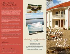VILLA LAZY GECKO BROCHURE (outside): If you are interested in getting a custom design, printing or just want to know more about TAS Belize, contact us.. (501) 822-0011 / (501) 637-4921 / info@tasbelize.com / www.tasbelize.com