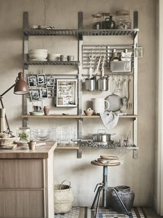 KUNGSFORS series: inspired by professional kitchens but adapted for home use, brings in that industrial vibe. Kitchen Wall Storage, Small Kitchen Organization, Kitchen Cabinets Decor, Diy Kitchen Decor, Kitchen Shelves, Kitchen Design, Dirty Kitchen, Basement Kitchen, New Kitchen