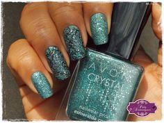 Esmeralda Crystal - Avon carimbado com Pueen 76 #esmaltadasdapatydomingues #liquidsand #avon #pueen