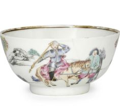 "A Chinese Export porcelain famille rose ""Don Quixote"" tea bowl and saucer, circa 1750. Photo Bonhams."