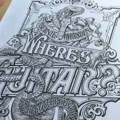 Hand drawing on this very sunny afternoon the final details in ink of @berniemarsden book cover. Colour stage next! #ink #sketch #typography #blackandwhite#snake #whitesnake #cover #detail #penmanship #lettering #art #illustration #guitar #music