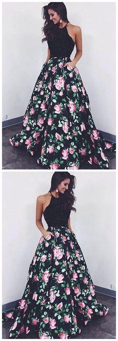 ball gown prom dress, fashion flower print party dress P0477 #promdress #promdresses #promgown #blackpromgowns #long #sequinsprom #modestpromdress #newpromdress #2018fashions #newstyles #sequins
