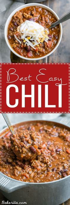 This recipe for My Best Chili is a major favorite around here! It's a hearty… This recipe for My Best Chili is a major favorite around here! It's a hearty, warming chili made with ground beef, bacon, sausage, and just the right amount of kick. Crock Pot Recipes, Chilli Recipes, Slow Cooker Recipes, Soup Recipes, Dinner Recipes, Cooking Recipes, Healthy Recipes, Chile Recipes Beef, Muffin Recipes