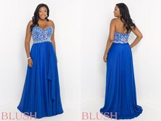 2015 Sparkle Blush Plus Size Prom Dresses 9053w Royal Blue Chiffon A Line Strapless Crystal Floor Length Beads Backless Formal Evening Gowns Cheap Trendy Plus Size Clothing Cocktail Dresses Plus Size From Ladygirl_dress, $131.73| Dhgate.Com