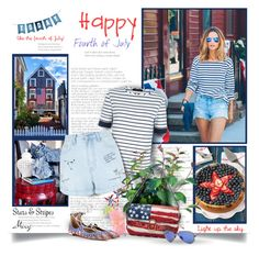 """""""Stars & Stripes"""" by thewondersoffashion ❤ liked on Polyvore featuring Aquazzura, Jaeger, New Look, PLANT, Marc Jacobs and Ray-Ban"""