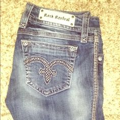 "Authentic Rock Revival Alanis Jeans Really nice fitting jeans. Have been hemmed for 5'7""-5'8"" woman. Can be unhemmed. Best fits a size 8/10. Really great condition. This is also listed elsewhere for less incase anyone is interested! :) Rock Revival Jeans Boot Cut"
