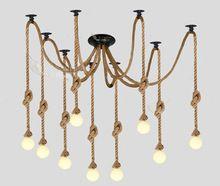 Vintage industriale americano stile retrò lampadario ragno corda di canapa lampada a sospensione per soggiorno dinning coffee bar ristorante decor(China (Mainland))