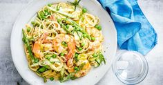 Twirl you fork around in this deliciously easy prawn pasta. Prawn Recipes, Shellfish Recipes, Seafood Recipes, Cooking Recipes, Healthy Recipes, Noodle Recipes, Chicken Recipes, Creamy Prawn Pasta, Chicken Meatloaf