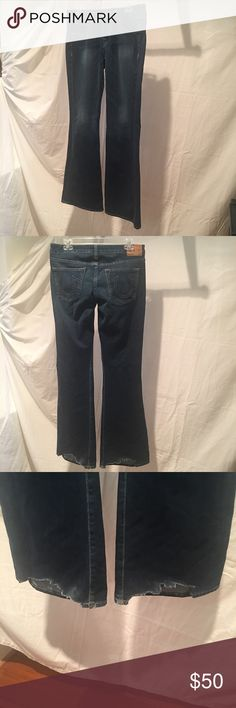 """True Religion jeans True Religion """"Bobby"""" flare leg jeans. Dark wash. 35"""" inseam. Frayed hem from boots, then my daughter cut off the fraying. Jeans can be hemmed. True Religion Jeans"""