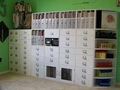 Scrapbook Room with storage cubes from Micheal's Craft Store Scrapbook Storage, Scrapbook Organization, Craft Organization, Scrapbook Rooms, Organizing Tips, Scrapbooking, Craft Room Storage, Cube Storage, Locker Storage