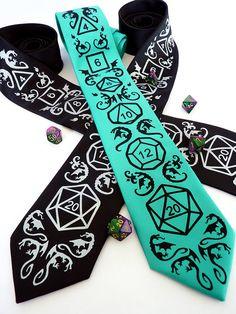 Dice and Dragons Necktie - DnD, RPG, Dragon Men's Tie - High Roller Necktie