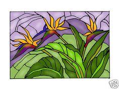 20X14 Stained Art Glass BIRD OF PARADISE Hanging Suncatcher