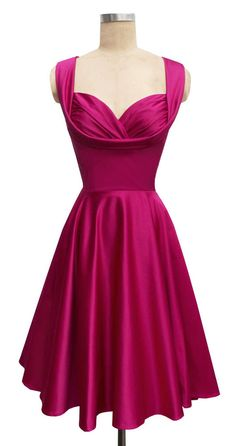Classic 50s style with this Trashy Diva Magenta Satin Honey Dress Sz 2 | eBay