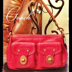 """💕Beautiful Coach Handbag Leather with Turn Lock Double Front Pockets. Zip Top. Zip Back Pocket. Adjustable Top Shoulder Strap.  Embossed interior.  Interior Zip Pocket.  Two Organizer Pockets. Shoulder Strap Fully Extended 9"""".6 1/2"""" H x 12"""" W x 3"""" D. Coach Bags"""