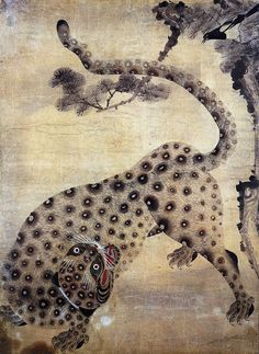 Magpies and a Tiger (one of the most popular folk art theme) Japanese Tiger, Lion Illustration, Traditional Japanese Art, Tiger Art, Korean Art, Historical Art, Buddhist Art, Texture Art, Animal Paintings
