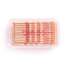 metallic rose gold bobby pins in reusable packaging