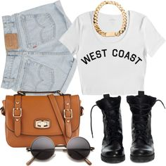 """Untitled #222"" by annellie on Polyvore Crop tops are in style and high waisted shorts are still in style! How long do you think they are going to be in style? We have big round glasses that are also starting to trend. Every girl show own a pair of combat boots! They go with mostly any outfit!"