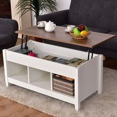 37 small space lift top storage coffee table bark gray white rh pinterest com