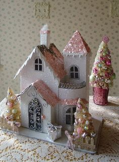 Shabby Chistmas House with Bottle Brush Trees and by IllusiveSwan, $44.00